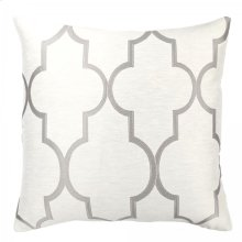 Paxton Contemporary Decorative Feather and Down Throw Pillow In Light Gray Jacquard Fabric