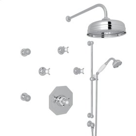 Polished Chrome Perrin & Rowe Edwardian Thermostatic Shower Package with Cross Handle