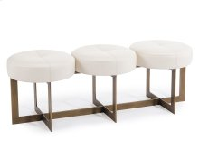 White Leather Button Bench