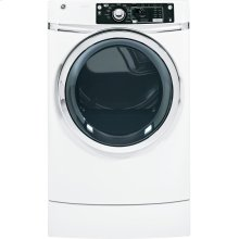 Floor Model Clearance! GE 8.1 cu. ft. capacity Right Height Front Load electric dryer with steam