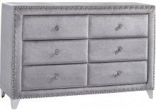"""Sophie Grey Velvet Dresser - 63""""L x 18""""D x 38""""H"""