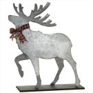 Large Galvanized Deer with Plaid Bow & Bell. Product Image