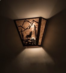"13"" Wide Wolf on the Loose Wall Sconce"