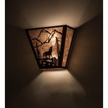 """13"""" Wide Wolf on the Loose Wall Sconce"""