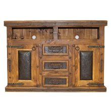 Tooled Leather TV/Dresser W/Doors