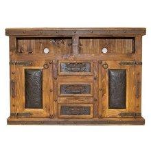 Tooled Leather TV/Dresser W/Doors