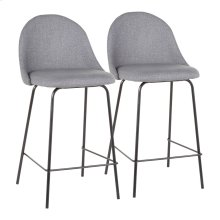 Lana Counter Stool - Set Of 2 - Black Metal, Grey Fabric