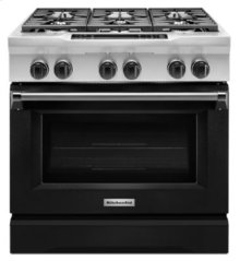 36'' 6-Burner Dual Fuel Freestanding Range, Commercial-Style - Imperial Black