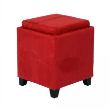 Rainbow Microfiber Storage Ottoman in Red Microfiber
