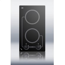 240V two burner cooktop with black ceramic glass surface