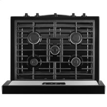 Black-on-Stainless Whirlpool® 5.1 cu. ft. Freestanding Gas Range with Five Burners