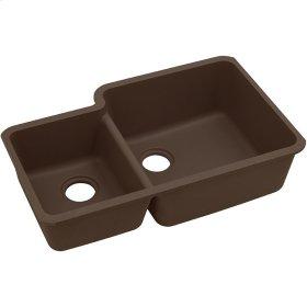 """Elkay Quartz Classic 33"""" x 20-11/16"""" x 9"""", Offset 40/60 Double Bowl Undermount Sink, Mocha"""