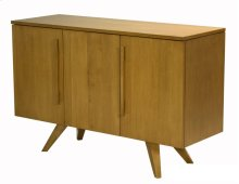 48 Inch 3 Door Buffet, Plane Sliced Maple Veneer Top, Long Wood Handle, Splayed Foot 1 Fixed Half Shelf