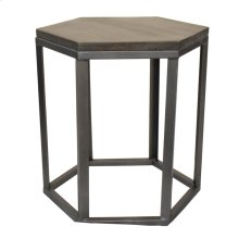Bengal Manor Mango Wood and Metal Grey Hexagon End Table