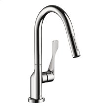 Chrome Single lever kitchen mixer with pull-out spray 1.75 GPM