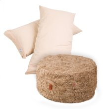 Pillow Pod Footstools - Faux Fur - Tan