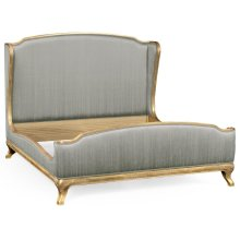 Cali King Louis XV Gilded Bed, Upholstered in Dove Silk
