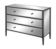Midnight Black Nickel Metal and Mirror 3 Drawer Chest