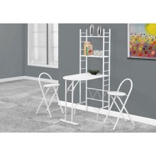 DINING SET - 3PCS SET / WHITE TOP / WHITE METAL