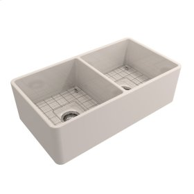 """Langley Double Bowl Fireclay Farmer Sink - 33"""" - Bisque"""