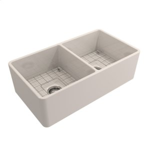"""Langley Double Bowl Fireclay Farmer Sink - 33"""" - Bisque Product Image"""