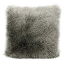 "Fur Fl101 Silver Grey 1'10"" X 1'10"" Throw Pillow"