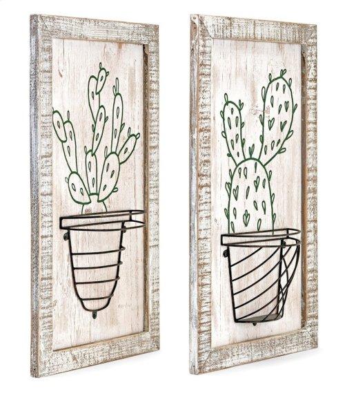 Cactus Framed Artwork w/basket - Ast 2