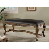 Black Faux Leather Accent Bench Product Image