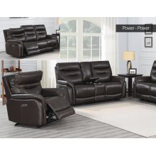 "Fortuna Recliner Console Love Pwr/Pwr Coffee 73.5""x38""x41"""