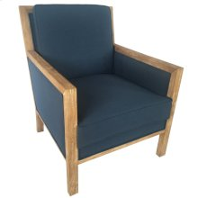 Largo Upholstered Indigo Light Oak Wood Arm Chair