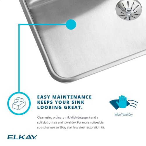"Elkay Lustertone Classic Stainless Steel 25"" x 21-1/4"" x 10-1/8"", Single Bowl Drop-in Sink"