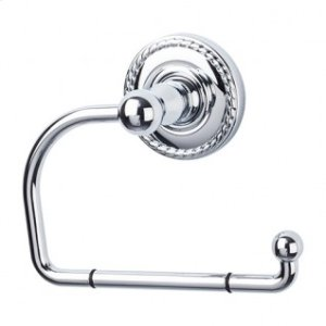Edwardian Bath Tissue Hook Rope Backplate - Polished Chrome