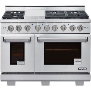 """Nxr Ranges48"""" Professional Style Gas Range in Stainless Steel"""
