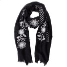 Black Floral Embroidered Scarf. Product Image