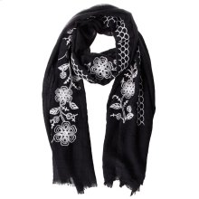 Black Floral Embroidered Scarf.