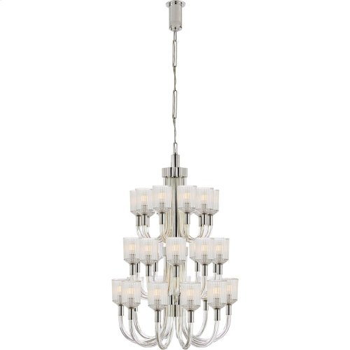 Visual Comfort KW5406CRB/PN Kelly Wearstler Reverie 27 Light 27 inch Clear Ribbed Glass and Polished Nickel Chandelier Ceiling Light