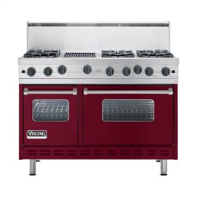 "Burgundy 48"" Open Burner Commercial Depth Range - VGRC (48"" wide, six burners 12"" wide char-grill)"