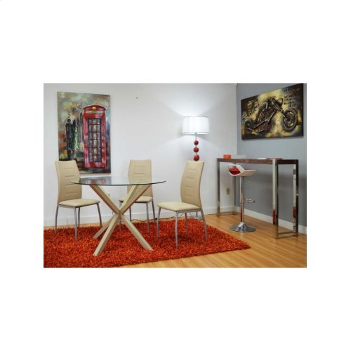 Dining Chair Red, White and Tan