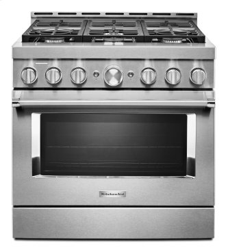 KitchenAid™ 36'' Smart Commercial-Style Gas Range with 6 Burners - Stainless Steel