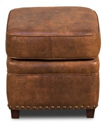 Papa's Footstool, Brown Fabric/Leather