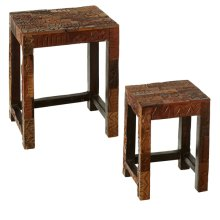 Repurposed Block Print Nested Tables (Each One Will Vary) (2 pc. set)