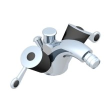 Single Hole 2 Handle Bidet Faucet, Integral Diverter for Vertical Spray With Drain