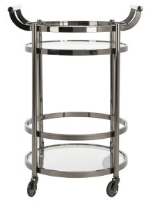 Sienna 2 Tier Round Bar Cart - Gunmetal