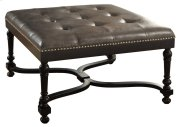 Camden Grey Leather Ottoman w/ Nailhead Trim Product Image