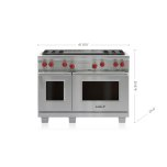 """Wolf 48"""" Dual Fuel Range - 4 Burners and Infrared Dual Griddle"""