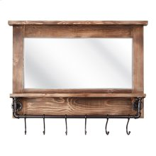 Afia Wall Mirror with Shelf and Hooks