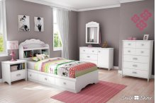 Mates Bed With Bookcase Headboard Set - Pure White