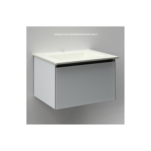 "Cartesian 24-1/8"" X 15"" X 18-3/4"" Single Drawer Vanity In Mirror With Slow-close Plumbing Drawer and No Night Light"
