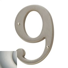 Satin Nickel with Lifetime Finish House Number - 9