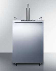 Freestanding Commercially Listed Outdoor Beer Dispenser, Auto Defrost With Digital Thermostat, Stainless Steel Wrapped Exterior, and Horizontal Handle